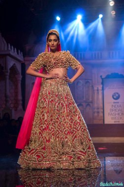 Abu Jani Sandeep Khosla - Heavily Embroidered Pink Lehenga and Blouse with Gold Work - Sonam Kapoor - BMW India Bridal Fashion Week 2015