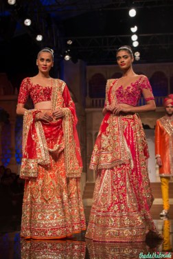 Abu Jani Sandeep Khosla - Heavily Embroidered Red and Orange Lehenga and Heavily Embroidered Pink Lehenga - BMW India Bridal Fashion Week 2015