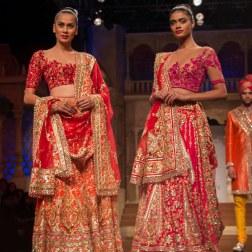 Abu Jani Sandeep Khosla - Heavily Embroidered Red and Orange Lehenga and Heavily Embroidered Pink Lehenga - BMW India Bridal Fashion Week 2015