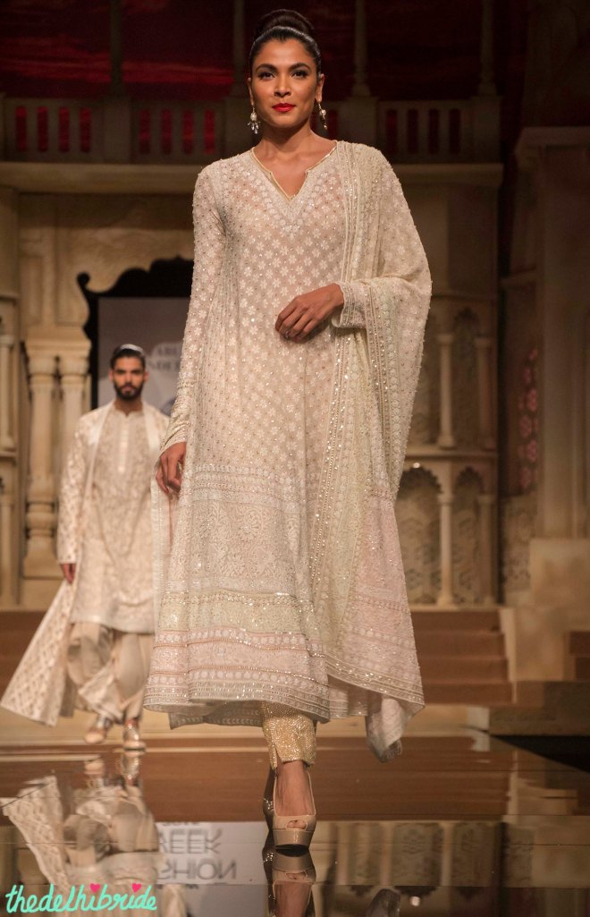 Abu Jani Sandeep Khosla - Off White Embroidered Kurta with Gold Cigarette Pants - BMW India Bridal Fashion Week 2015