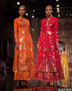 Abu Jani Sandeep Khosla - Orange and Pink Kurta Lehengas with Floral Gota Work - BMW India Bridal Fashion Week 2015