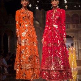 Abu Jani Sandeep Khosla - Orange and Pink Kurta Lehengas with Floral Gota Work - BMW India Bridal Fashion Week 2015