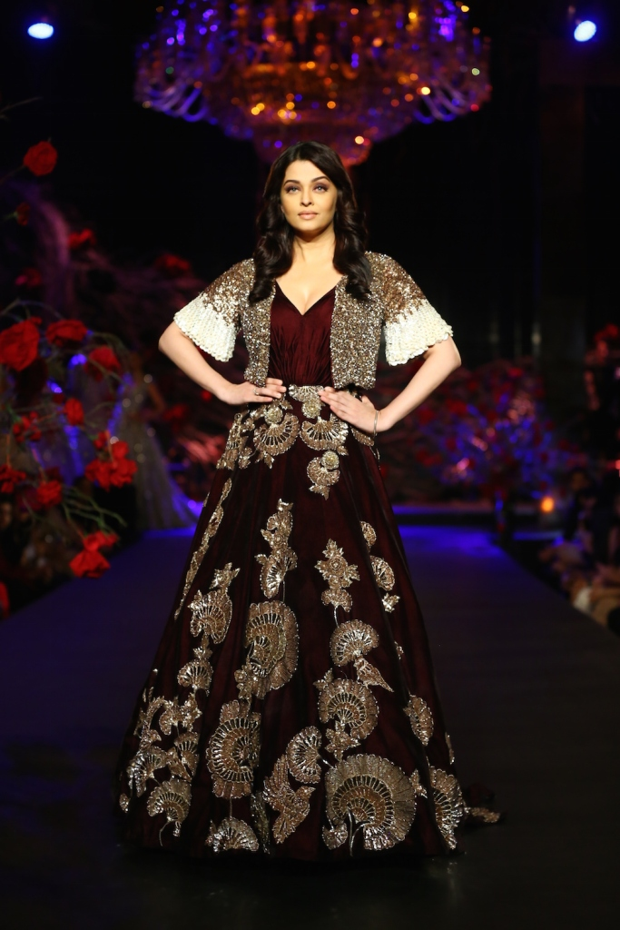 Aishwariya Rai in Burgundy Gown with Gold Mushroom Flower Motifs _ Gold Silver Sequin Short Jacket 1 - Manish Malhotra - Amazon India Couture Week 2015