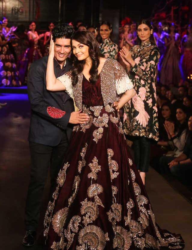Aishwariya Rai with Manish Malhotra - Burgundy Gown with Gold Mushroom Flower Motifs _ Gold Silver Sequin Short Jacket 1 - Manish Malhotra - Amazon India Couture Week 2015