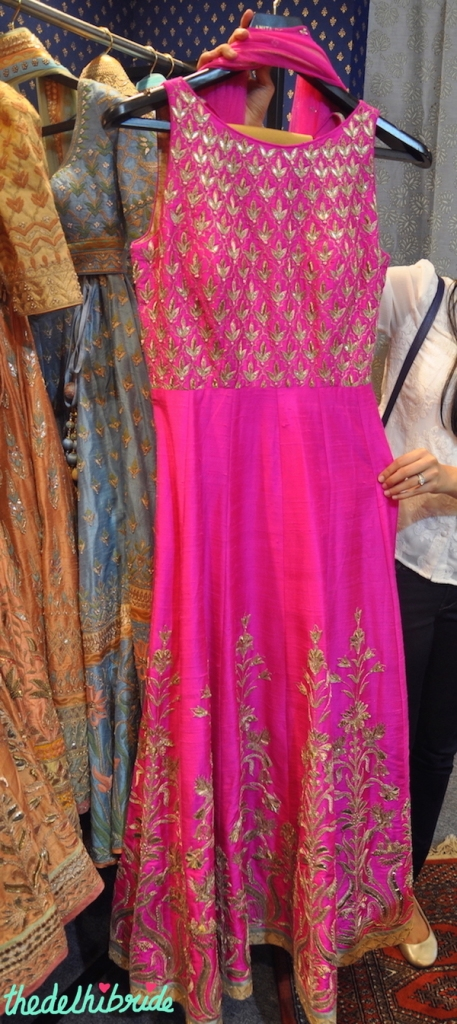 Anita Dongre - Fuchsia Pink Gota Patti Anarkali Gown - Vogue Wedding Show 2015