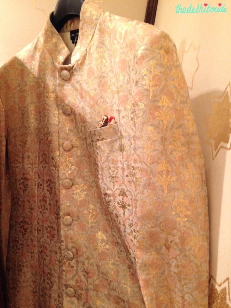 Anju Modi - Ivory sherwani Jacket with Gold & Soft Pink self pattern - Vogue Wedding Show 2015