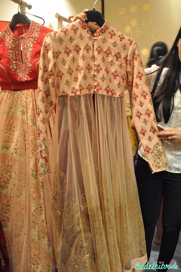 Anju Modi - Pale Pink Jacket Anarkali with gold work - Vogue Wedding Show 2015
