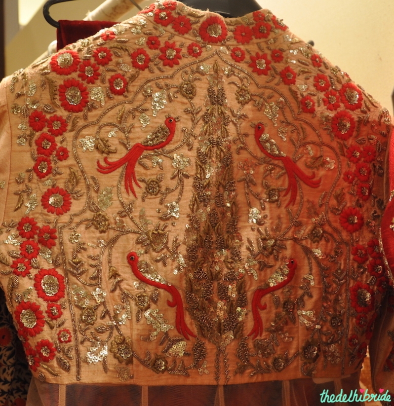 Anju Modi - Red Threadwork & Gold Embroidery Bird Motif on Pale Pink Anarkali back