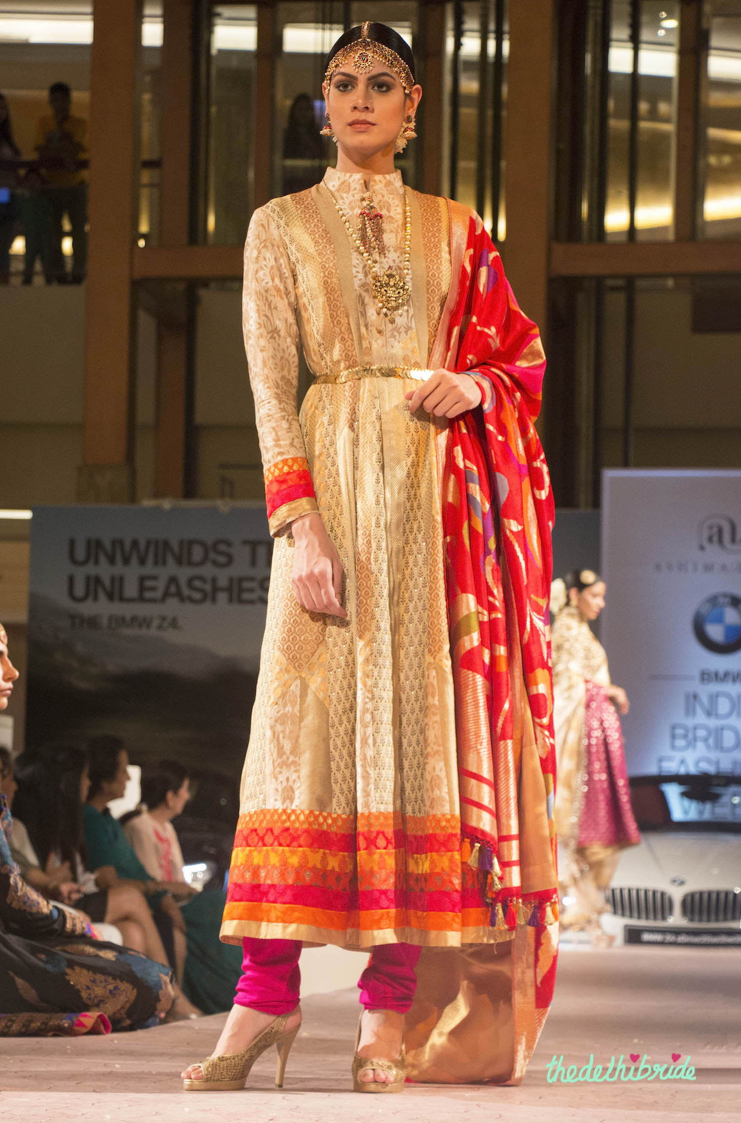 Ashima Leena Beige Brocade Kurta With Red Silk Dupatta
