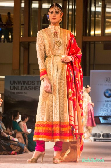 Ashima Leena - Beige Brocade Kurta with Red Silk Dupatta - BMW India Bridal Fashion Week 2015