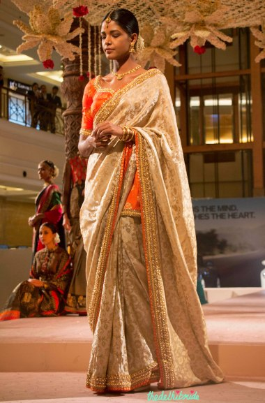 Ashima Leena - Beige Brocade Saree _ Orange Blouse with Embellished Jewel Embroidery - BMW India Bridal Fashion Week 2015