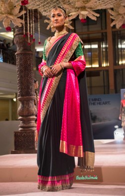 Ashima Leena - Black and Gold Silk Sari with Pink Pallu - BMW India Bridal Fashion Week 2015