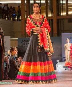 Ashima Leena - Black Lehenga with multi coloured borders and Red Silk Dupatta - BMW India Bridal Fashion Week 2015