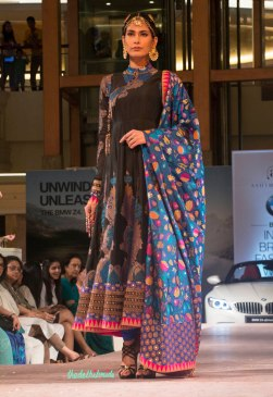 Ashima Leena - Black Silk Anarkali with Blue Brocade Dupatta with multi-coloured floral motifs - BMW India Bridal Fashion Week 2015