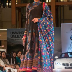 Ashima Leena - Black Silk Anarkali with Blue Brocade Dupatta with multi-coloured floral motifs - BMW India Bridal Fashion Week 2015