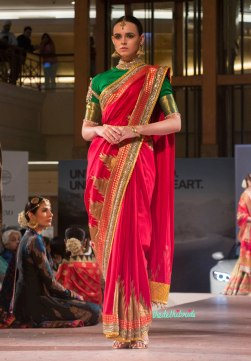 Ashima Leena - Fuschia Pink Silk Sari with Embellished Border - BMW India Bridal Fashion Week 2015