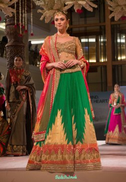Ashima Leena - Green & Gold Silk Lehenga and Gold Embroidered Blouse with sheer mid-section - BMW India Bridal Fashion Week 2015