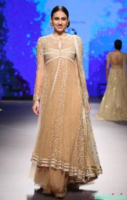 Beige Anarkali Kurta with Ivory Embroidery - Tarun Tahiliani - BMW India Bridal Fashion Week 2015