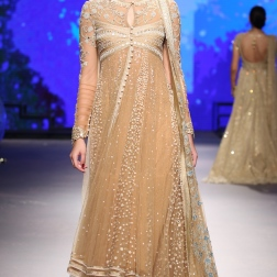 Beige Anarkali Kurta with Ivory Embroidery - Tarun Tahiliani - BMW India Bridal Fashion Week 2015