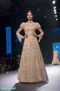 Beige Chikankari Jacket Lehenga - Tarun Tahiliani - BMW India Bridal Fashion Week 2015