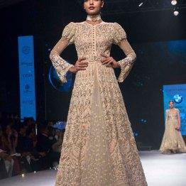Beige Chikankari Jacket Lehenga - Tarun Tahiliani - BMW India Bridal Fashion Week 2015