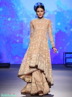 Beige Chikankari Kalidar Kurta with Lehenga - Tarun Tahiliani - BMW India Bridal Fashion Week 2015.