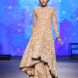 Beige Chikankari Kalidar Kurta with Lehenga - Tarun Tahiliani - BMW India Bridal Fashion Week 2015.