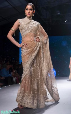 Beige Embroidered Saree with Mirrorwork Blouse - Tarun Tahiliani - BMW India Bridal Fashion Week 2015