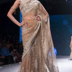 Beige Embroidered Saree with Mirrorwork Blouse - Tarun Tahiliani - BMW India Bridal Fashion Week 2015