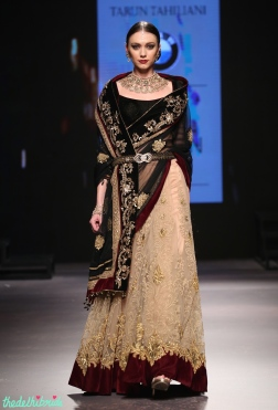 Beige Lehenga with Gold Floral Embroidery and Maroon Velvet Border, Black Velvet Blouse & Black Dupatta with Gold Work - Tarun Tahiliani - BMW India Bridal Fashion Week 2015