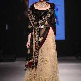 Beige Lehenga with Gold Floral Embroidery and Maroon Velvet Border, Black Velvet Blouse & Black Dupatta with Gold Work - Tarun Tahiliani - BMW India Bridal Fashion Week 2015