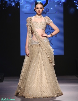 Beige lehenga with gold grid pattern and Swarovski embellishments - Tarun Tahiliani - BMW India Bridal Fashion Week 2015