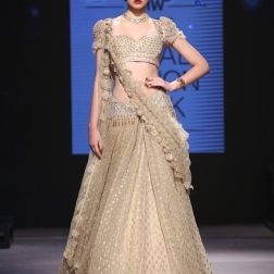 Beige lehenga with gold grid pattern and Swarovski embellishments - Tarun Tahiliani - BMW India Bridal Fashion Week 2015