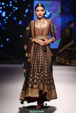 Black Brocade Anarkali with hints of Maroon - Tarun Tahiliani - BMW India Bridal Fashion Week 2015