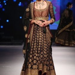 Black Brocade Anarkali with hints of Maroon - Tarun Tahiliani - BMW India Bridal Fashion Week 2015