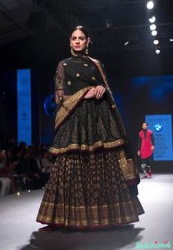 Black Kalidar Kurta, Dupatta with Gold Motifs and Brocade Black Lehenga - Tarun Tahiliani - BMW India Bridal Fashion Week 2015