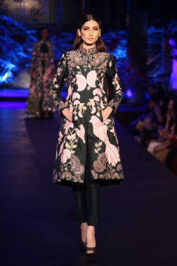 Black Kurta Jacket with Birds and Mushroom Flower Motifs _ Black Cigarette Pants - Manish Malhotra - Amazon India Couture Week 2015
