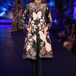 Black Kurta Jacket with Birds and Mushroom Flower Motifs _ Black Cigarette Pants - Manish Malhotra - Amazon India Couture Week 2015