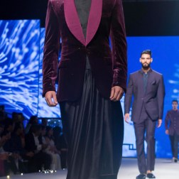Black Pleated Dhoti, Bandhgala Shirt & Deep Purple Shimmer Velvet Blazer Jacket - Tarun Tahiliani - BMW India Bridal Fashion Week 2015