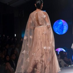 Blush pink Anarkali with Sequins and dupatta with star motifs - Tarun Tahiliani - BMW India Bridal Fashion Week 2015