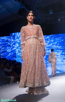 Blush pink anarkali with threadwork and cape - Tarun Tahiliani - BMW India Bridal Fashion Week 2015