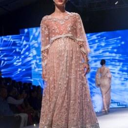 Blush pink anarkali with threadwork and cape - Tarun Tahiliani - BMW India Bridal Fashion Week 2015