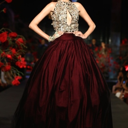 Burgundy Ball Gown Skirt with Crop Top 3D Silver Floral Motifs - Manish Malhotra - Amazon India Couture Week 2015