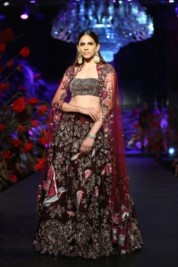 Burgundy Lehenga Skirt with Heavy Embroidery and Bird Motifs and tube top choli, Dupatta with 3D Floral Embroidery on Border - Manish Malhotra - Amazon India Couture Week 2015