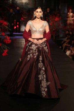 Burgundy Lehenga with Mushroom Floral Motifs, Red Dupatta _ Sequin Silver Blouse - Manish Malhotra - Amazon India Couture Week 2015