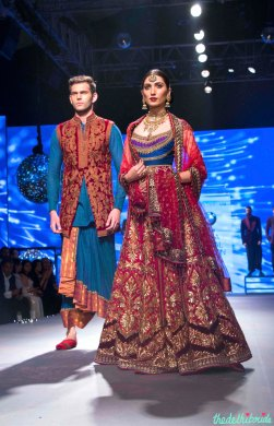 Cobalt Blue Kurta and Pleated Dhoti Pants with Red and Gold Jacket for Men, Heavy Maroon Wedding Lehenga with Multi-Coloured Blouse for Women - Tarun Tahiliani - BMW India Bridal Fashion Week 2015