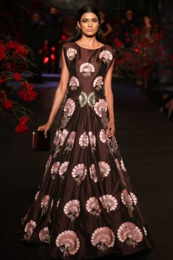Coffee Brown Anarkali Gown with Mushroom Flower Motif - Manish Malhotra - Amazon India Couture Week 2015