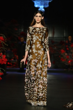 Copper Dress with 3D Floral Embroidery - Manish Malhotra - Amazon India Couture Week 2015