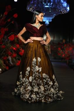 Copper Lehenga Skirt with Silver Mushroom Flower Motifs & Burgundy Blouse - Manish Malhotra - Amazon India Couture Week 2015