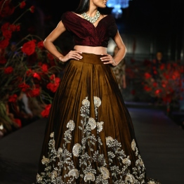 Copper Lehenga Skirt with Silver Mushroom Flower Motifs & Burgundy Blouse - Manish Malhotra - Amazon India Couture Week 2015